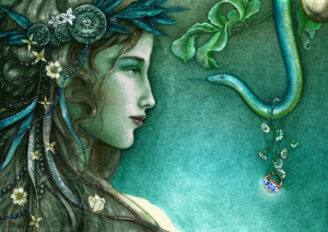 woman and serpent